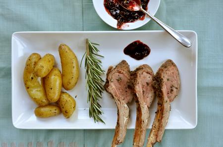 herb crusted lamb with acai sauce