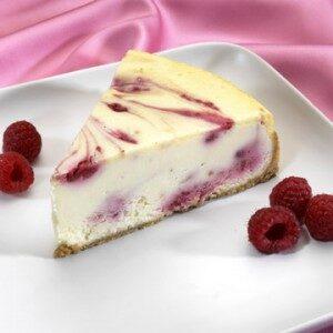Raspberry swirl cheesecake slice